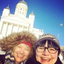 Mit Tarja (tarjasblog.de) während er Matkamessut in Helsink vor dem Dom.
