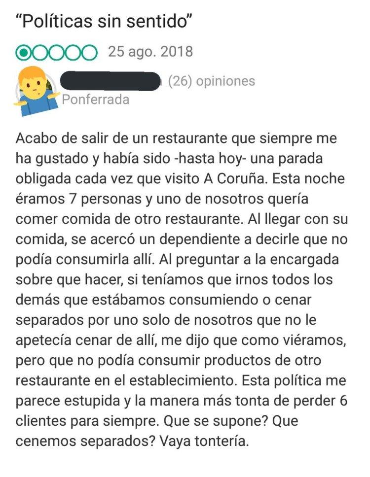 NO TE DEJAN TRAERTE LA COMIDA DE OTRO RESTAURANTE