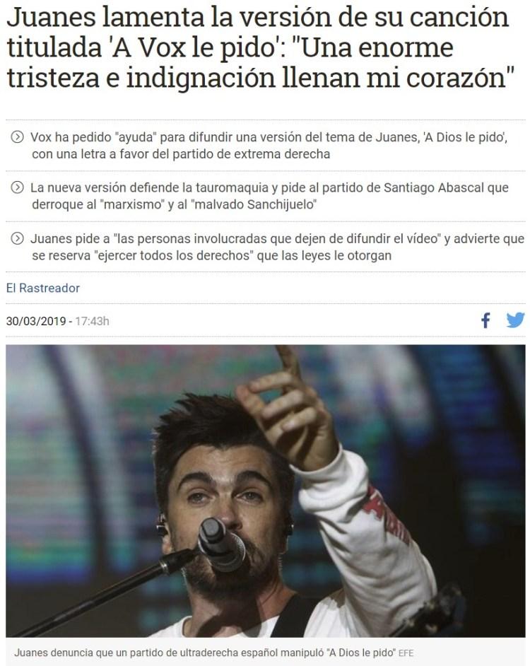 """Parece que a Juanes no le ha molado """"A VOX le pido"""""""