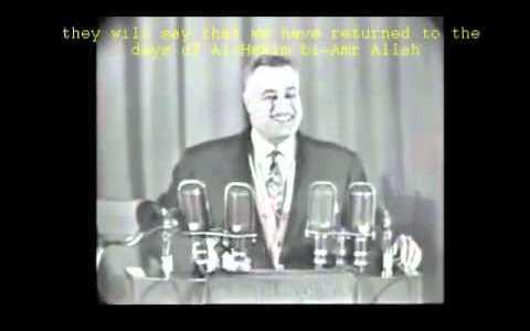 El líder egipcio Gamal Abdel Nasser riéndose de la posibilidad de que se impusiera el Hijab en 1958