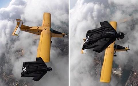 Mano a mano entre una avioneta y un paracaidista con WingSuit