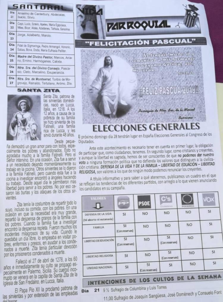 """La hoja parroquial de Burriana invitando a votar """"en defensa de la vida"""""""