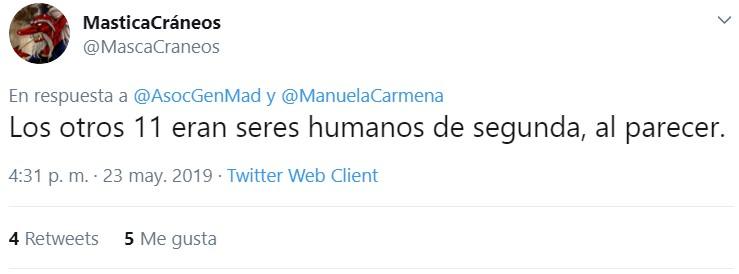 """""""En 2017 en Madrid no hubo más que 16 homicidios, eso es absolutamente ejemplar, pero hay algo que me preocupa muchísimo: de esos 16 homicidios nada menos que 5 fueron mujeres. Eso es terrible"""""""
