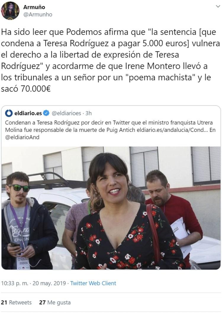 Multan con 5.000 euros a Teresa Rodríguez por llamar asesino a Utrera Molina