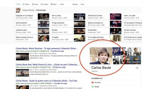 Si buscas CARLOS BAUTE en Google, la primera foto que te muestra es de Gerard Piqué
