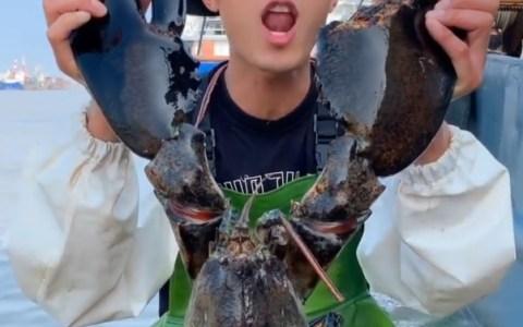 Un chino cocinando una langosta gigante y comiéndosela delante de la cámara