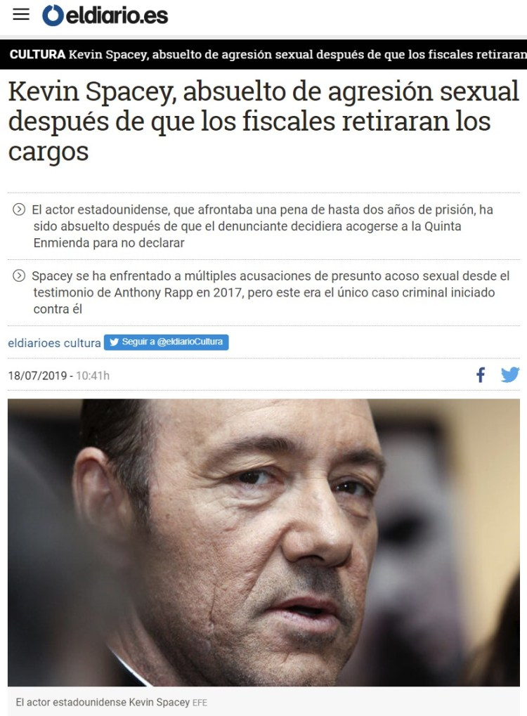 Confirmed: Kevin Spacey ha sido absuelto