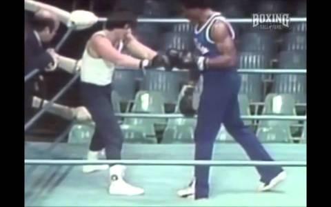 Sylvester Stallone ensayando la coreografía del combate en Rocky 1