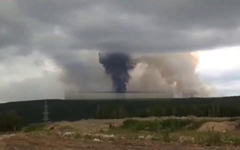 Explosión grabada hoy en un almacén militar ruso