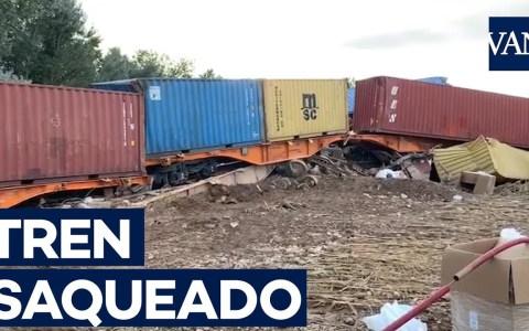 Saquean el tren de mercancías que descarriló en Lleida por las lluvias torrenciales