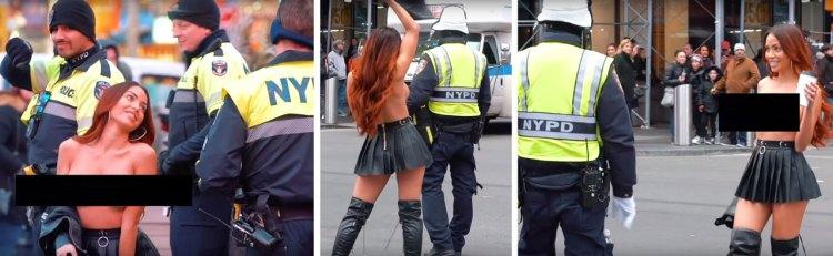 Cámara oculta: una chica se pasea por Nueva York vestida únicamente con una falda intentando Iigar con policías