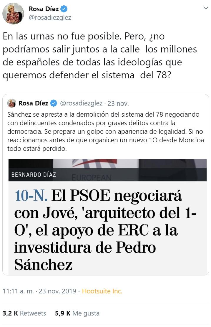 Rosa Diez está a un paso de autoproclamarse caudilla de España