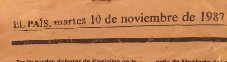Ayer pusimos el Belén en mi casa. Las figuras son muy viejas y están guardadas en papel de periódico. Pues uno de los trozos era de un periódico de 1987.