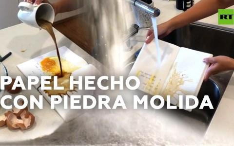 Limpio, resistente al agua, lavable, y ecológico: así es el papel hecho con PIEDRA 💎+🧪->📖