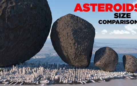 Comparativa de tamaño entre todos los asteroides que se han avistado por el hombre