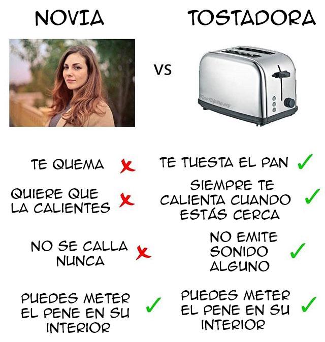 Diferencias entre una novia y una tostadora