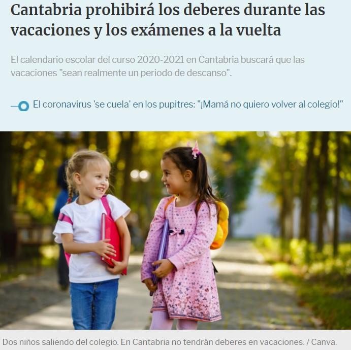 Cantabria apuesta por que los niños no ejerzan actividad académica alguna durante las vacaciones