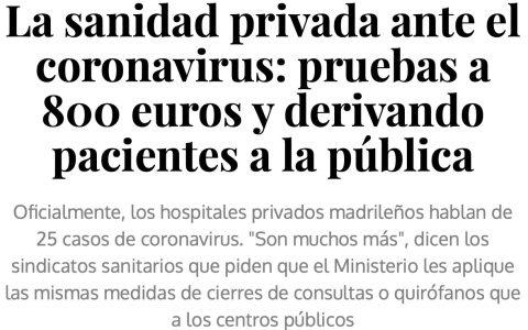 """""""Hazte un seguro privado, es mejor que la sanidad pública"""""""