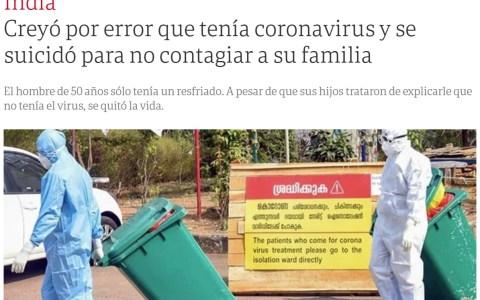Darwin no perdona: Se suicida pensando que tenía coronavirus, y solo era un catarro