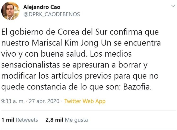 """Alejandro Cao, el representante no oficial de Corea del Norte, afirma que Kim aún no está """"CAO"""""""