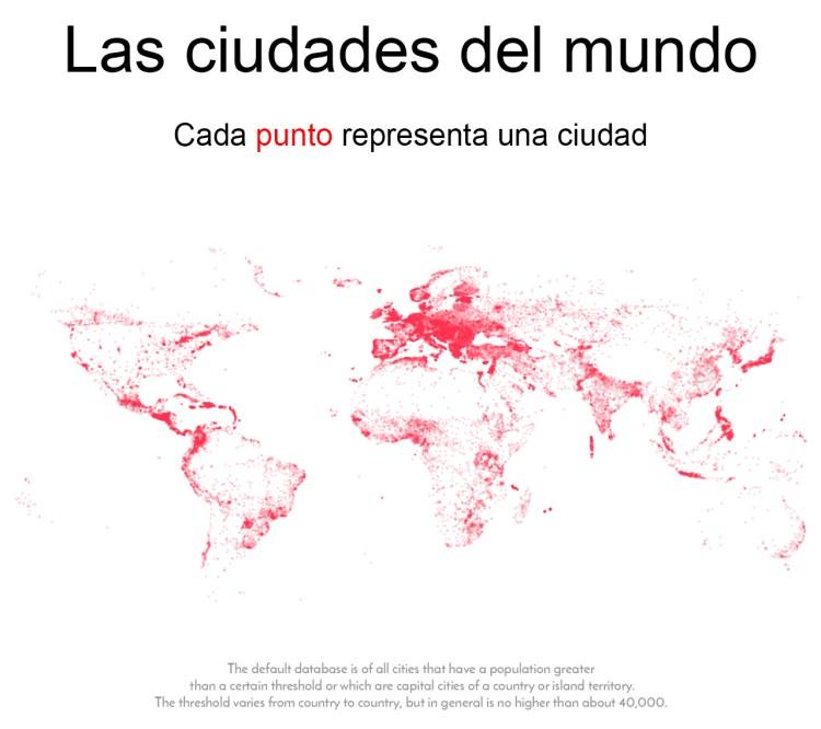 Cada punto en este mapa representa una ciudad