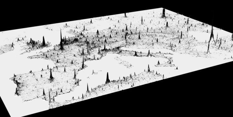 Densidad de población representada con una gráfica de picos 3D