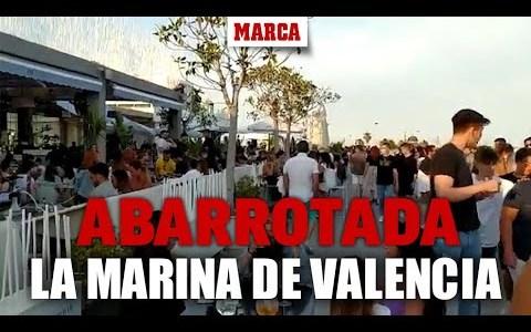 La Marina de Valencia abarrotada de gente incumpliendo las medidas de seguridad