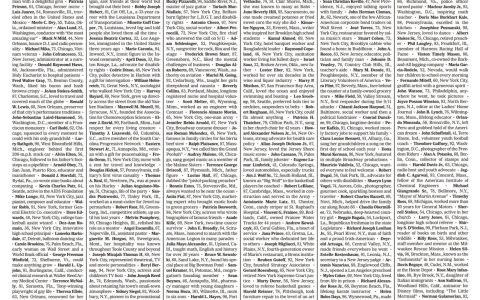La portada del NY Times de hoy es una gigantesca sección de esquelas