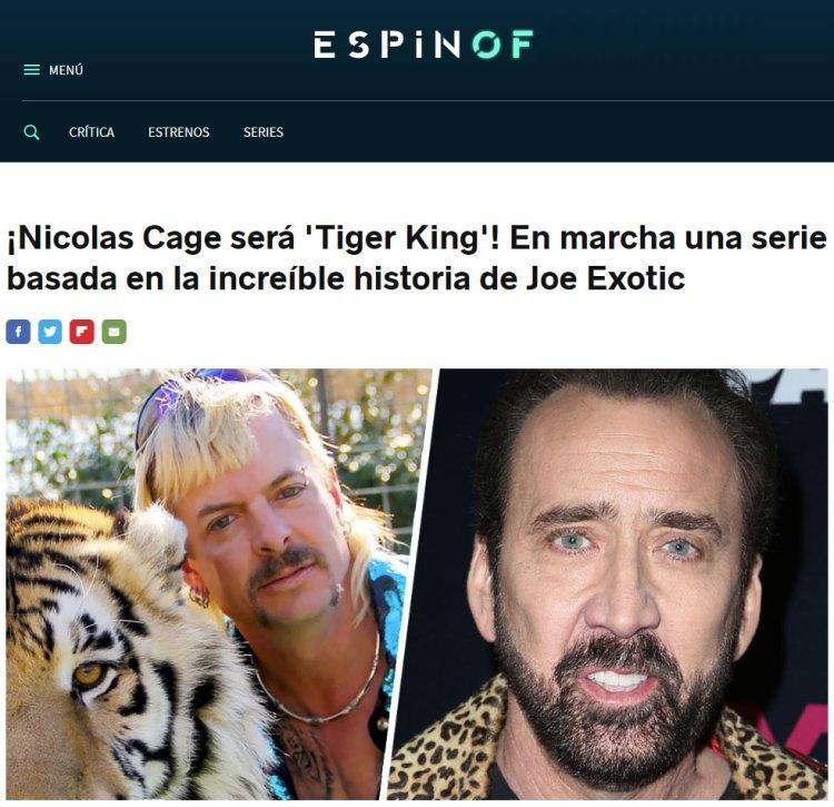 Notición: Nicolas Cage interpretará a Joe Exotic en una serie basada en 'Tiger King'