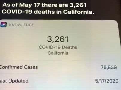 Parece que SIRI se buguea un poco cuando le preguntas cuánta gente ha palmado en California por el virus