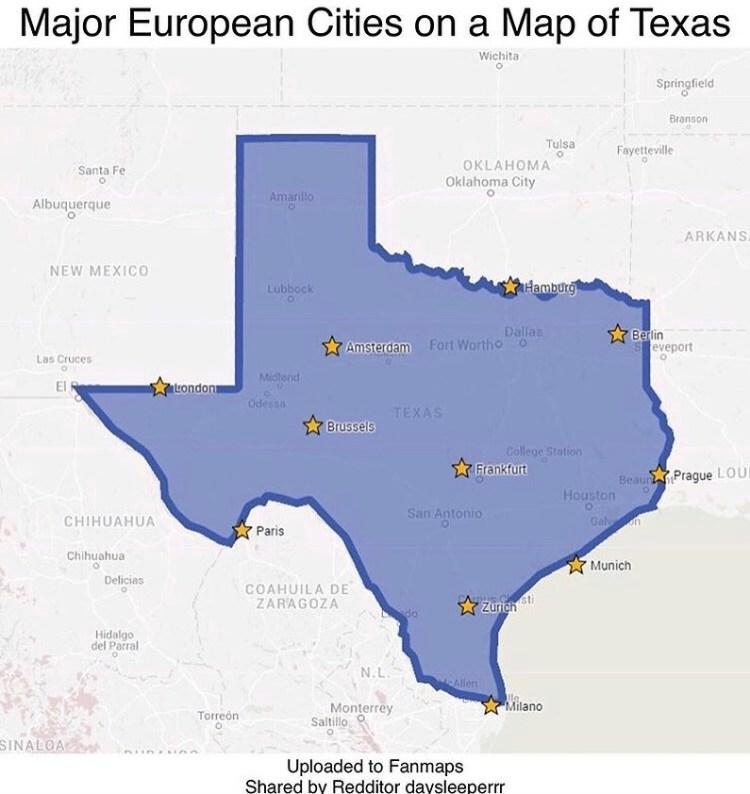 Un cacho de Europa puesto encima del mapa de Texas