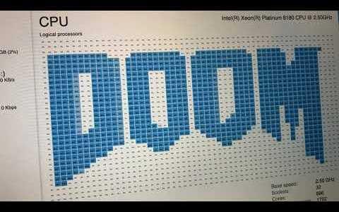 Haciendo funcionar Doom en un ordenador con procesador de 896 núcleos lógicos