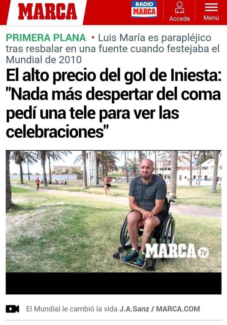 Se cae celebrando el gol de Iniesta y se queda parapléjico