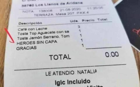 """Factura de la """"Terraza Carambola"""" en Los Llanos de Aridane, La Palma (Canarias) a los miembros de la UME que trabajan en la extinción de los fuegos."""