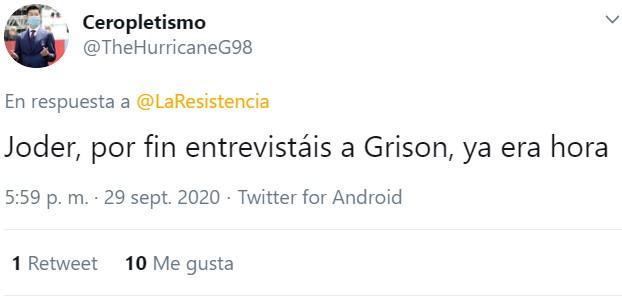 Lo más cerca que hemos estado de una entrevista a Grison