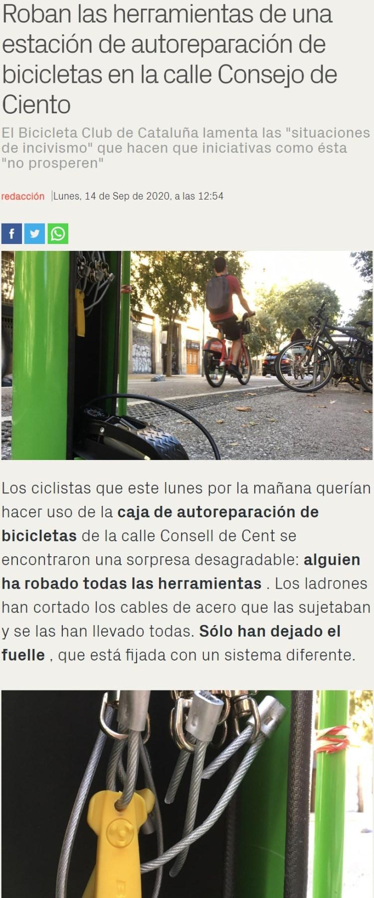 Instalan una estación de autoreparación de bicis en Barcelona, lo que sucedió a continuación... no te sorprenderá