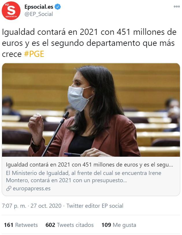 Los Autónomos arruinándose y el Ministerio de Igualdad con un 157% más de presupuesto que en 2020