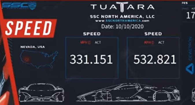 El SSC Tuara destruye el récord de velocidad alcanzando unos absurdos 533 km/h