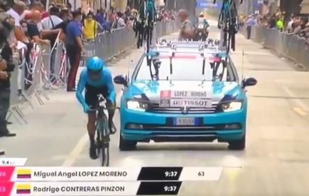 Miguel Ángel López se cae solo en el Giro de Italia