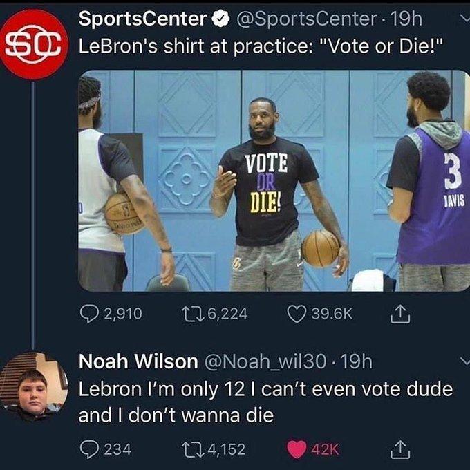 """Lebron James entrena con una camiseta en la que pone """"VOTA O MUERE"""""""