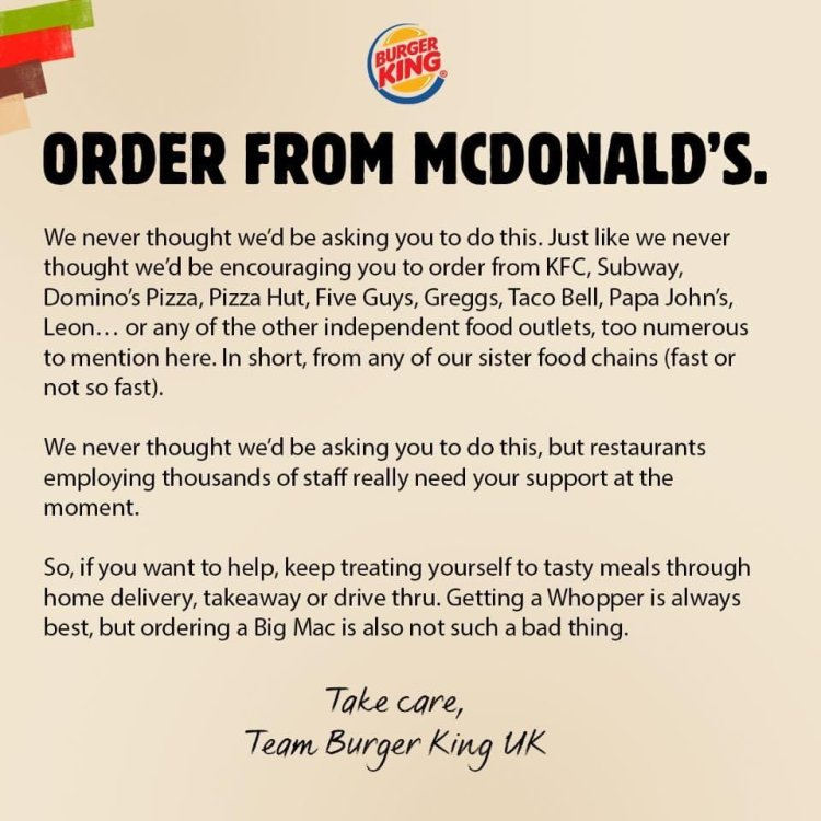 Burger King pide en su fanpage que pidan a McDonald's y a otras cadenas competidoras en Reino Unido en vista de las nuevas medidas de encierro y la actual crisis de los restaurantes