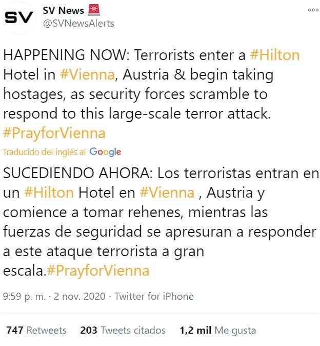 Terroristas entran en un hotel Hilton en Viena y toman rehenes