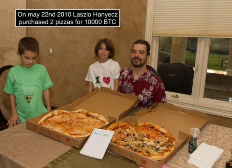 En 2010 Laszo Hanyecz compró dos pizzas por 10.000 Bitcoins, que ahora al cambio serían 190 millones de euros