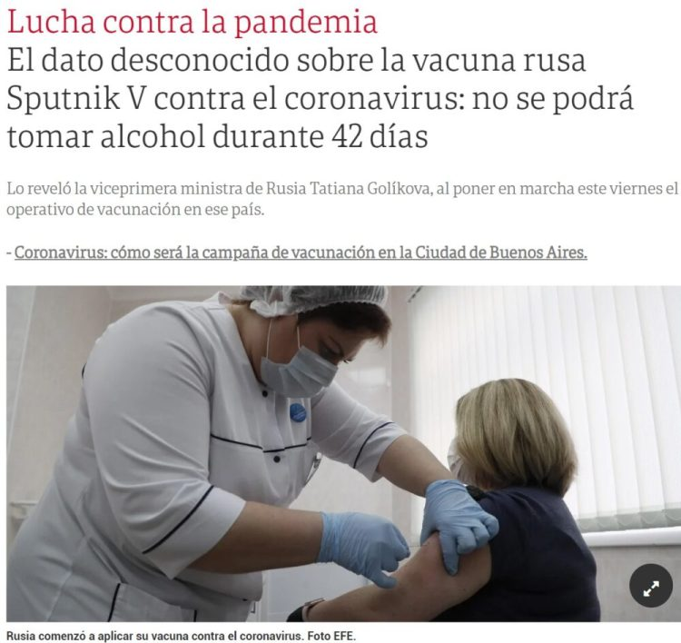 La vacuna Sputnik V pasa a tener un 0% de efectividad en Rusia