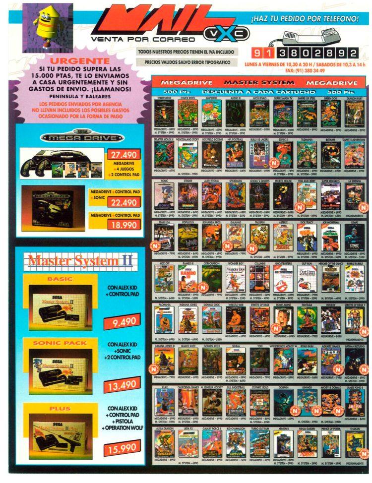 """Catálogo de """"Game"""" (antigua Centro Mail) en 1992"""