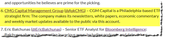 CMG Wealth top twitter recommendation for insideETFs
