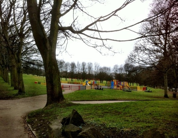 """Made this one bigger so you could see it. It's a park just near where I live. Def hittin' up those swings soon. And the ice cream truck that makes its way nearby on """"warm"""" days."""