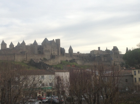 Carcassonne, with Milena's house right below the castle walls!