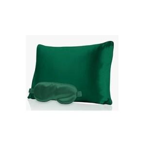green silk eye mask and pillow