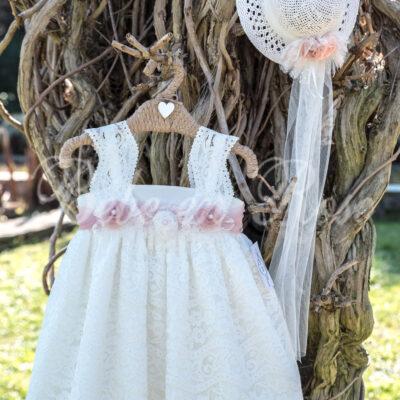 Βαπτιστικό φόρεμα λουλούδια σάπιο μήλο